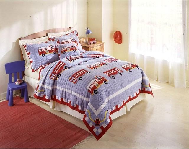 Fire Truck Crib Bedding : Pem america fire truck bedding set multicolor qs tw