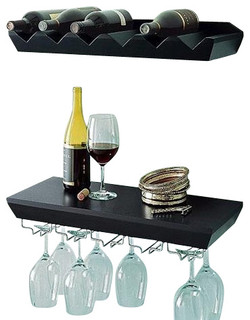 Wall mounted wine shelf with glass holder set for Abanos furniture industries decoration llc