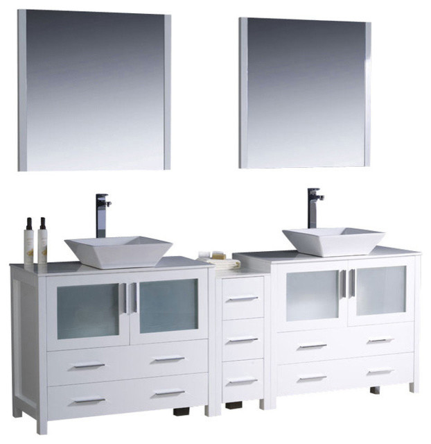 84 Inch Double Sink Bathroom Vanity In Espresso White White Ceramic Vessel Contemporary