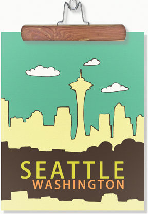 Urban Chic Wall Art Travel Poster, Seattle by Lisa Barbero modern-prints-and-posters