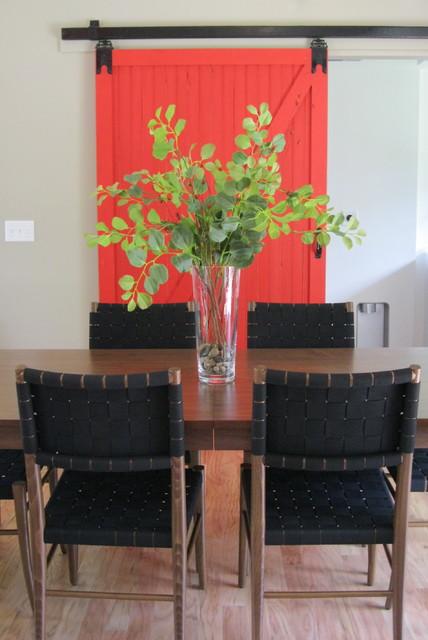 Nest designs red barn door modern dining room for Barn door dining room