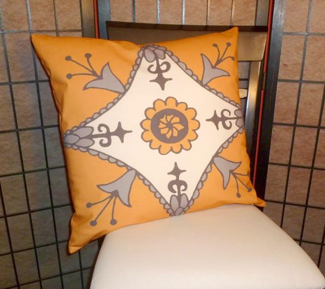 Moroccan Pillow Suzani Yellow Gray African 20 x 20 eclectic-decorative-pillows
