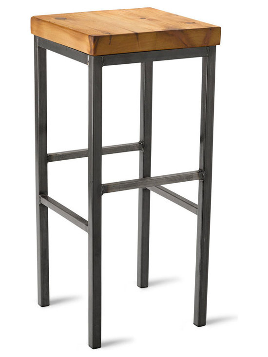 """Vermont Farm Table - Square Metal Bar Stool, Reclaimed Pine, 30""""h - A warm wood finish is the perfect complement to the cool metal base of this industrial stool. Choose from three heights to match your counter and you'll be sitting in style. It's the perfect look for a modern home kitchen."""