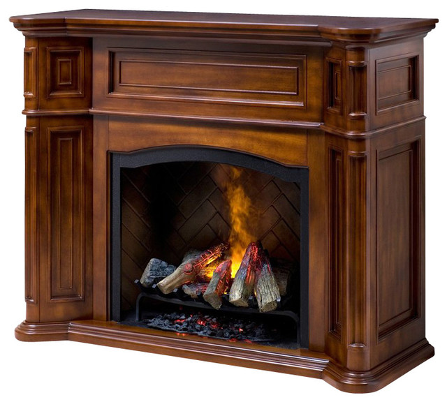 Dimplex Thompson Optymist Electric Fireplace in Burnished Walnut transitional-indoor-fireplaces