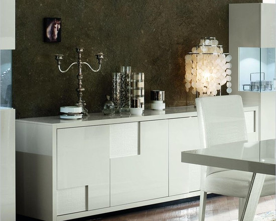 Rossetto Nightfly 79 Inch Wide Buffet in White - Formal pureness and essential volumes radiate from the nightfly milk white buffet.
