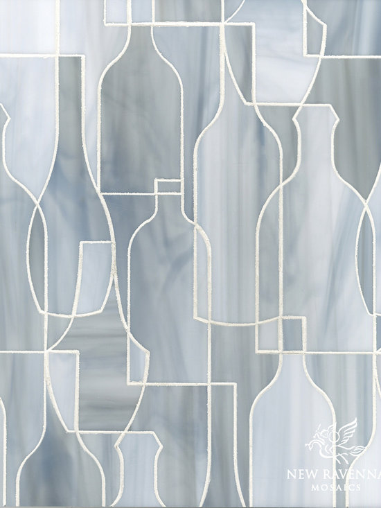 Erin Adams - Bottles - Bottles, a glass waterjet mosaic shown in Pearl, is part of the Erin Adams Collection for New Ravenna Mosaics.