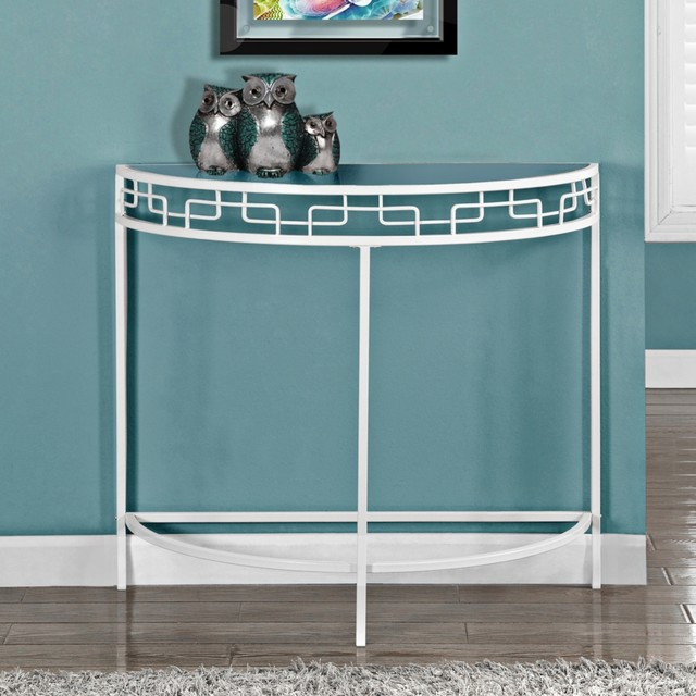 Cleo white metal demilune hall console table contemporary dining tables White demilune console table