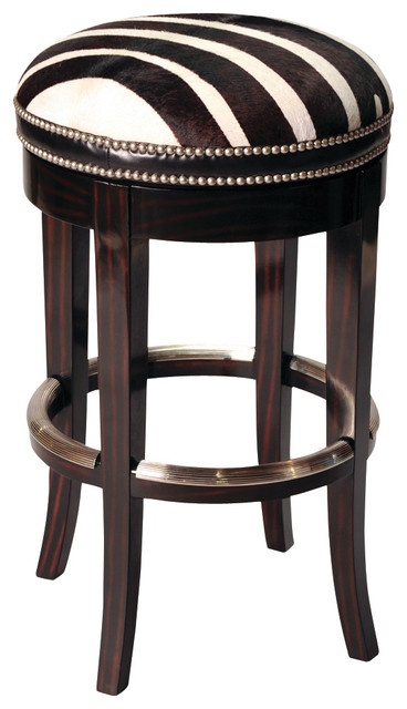 Zebrano Swivel Barstool Backless Traditional Bar
