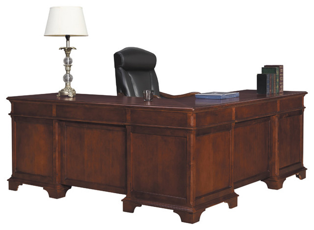 Home Office Weathered Cherry Executive L Desk Modern