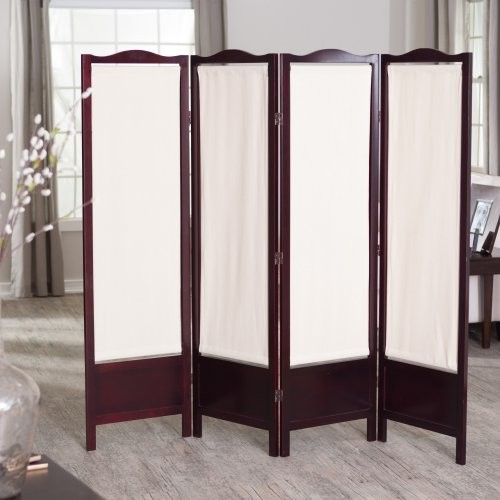 CK Group Brooks Canvas 4 Panel Room Divider - Rosewood contemporary-screens-and-room-dividers