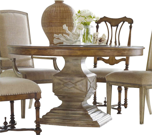 Hooker Furniture Sanctuary 54in Round Pedestal Dining Table in Dune and Beach traditional-dining-tables