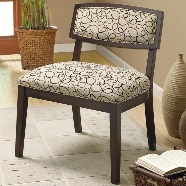 Tan Swirl Fabric / Cappuccino Accent Chair contemporary-living-room-chairs
