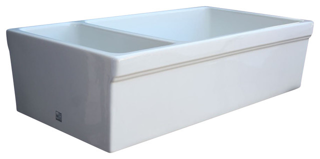 White Double Bowl Farmhouse Sink : White Whitehaus WHQDB542 Double Bowl Fireclay 36 Farmhouse Apron ...