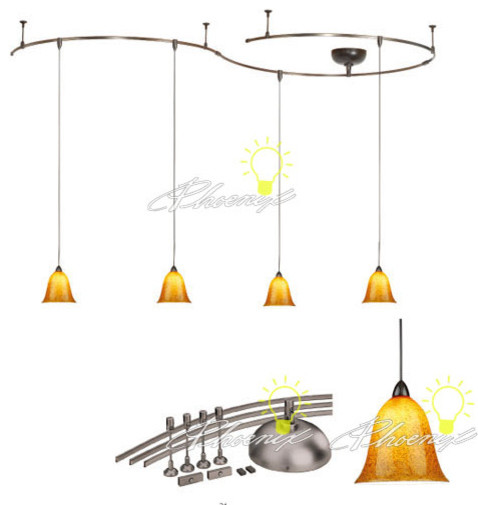 four light monorail bell pendant kit and