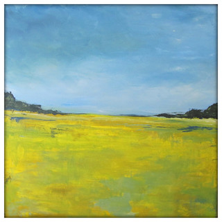 """Abstract Landscape Modern Minimalist Acrylic Painting on Canvas, 40"""" x 40"""" - Contemporary ..."""