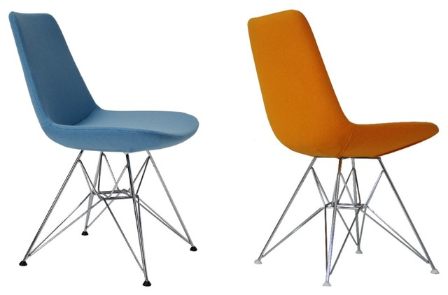 Eiffel Tower Chair by sohoConcept - Sky Blue Wool - Orange