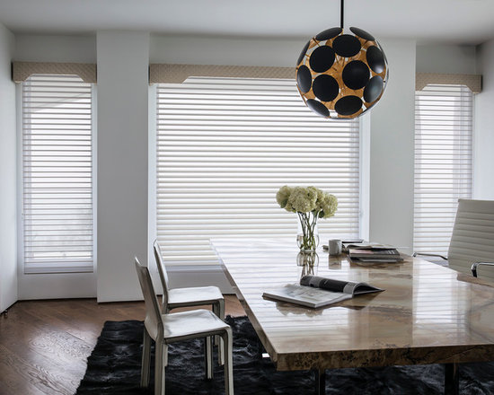 """Smith & Noble 2 1/2"""" Horizontal Sheer Shadings - Enjoy the serene appeal of natural light with the knowledge that total privacy is only a shade away. Our Sheer Shadings were designed with optimal versatility in mind. When vanes are open they elegantly diffuse light while still offering some privacy, but when closed, provide privacy and room-darkening light control. Sheer Shadings are shipped in 5 business days. Starting at $299"""