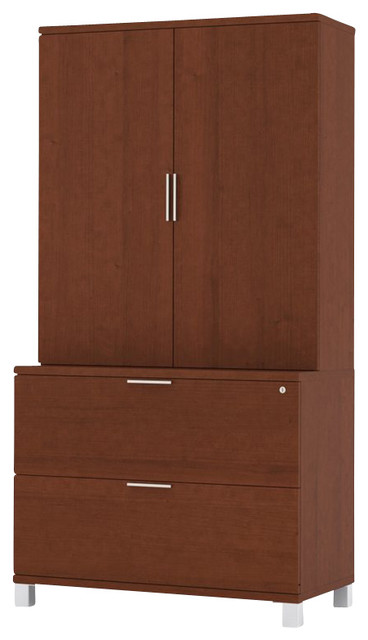 Bestar Pro-Linea Lateral File and Cabinet Kit in Cognac transitional-filing-cabinets