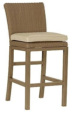"""Orangeic Counter Height Outdoor Bar Stool with Cushion (24"""" seat) - Frontgate, P traditional-outdoor-chairs"""