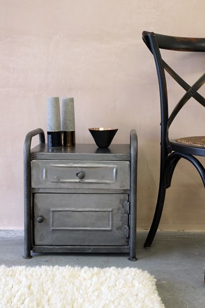 Vintage Style Metal Cabinet Bedside Table Industrial Nightstands And Bedside