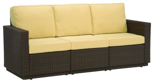 Home Styles Riviera Harvest All-Weather Wicker Three Seat Sofa contemporary outdoor sofas