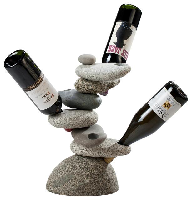 6 Bottle Rock Wine Rack Beach Style Racks By
