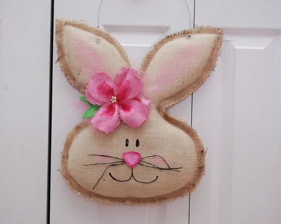 Girl Burlap Easter Spring Bunny Door Hanger/Greeter Wall Decor - This is our Burlap Bunny Door Hanger. She has a handmade burlap hibiscus flower on her ear. She is quite cute.