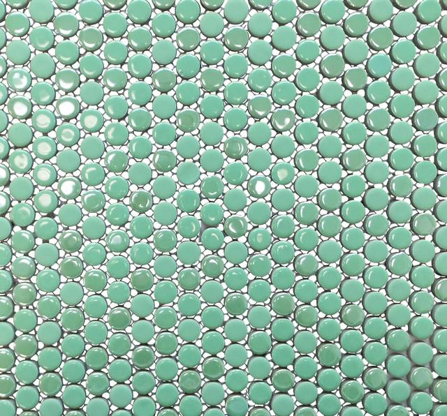Penny round porcelain tile green 1 carton 11 sheets contemporary