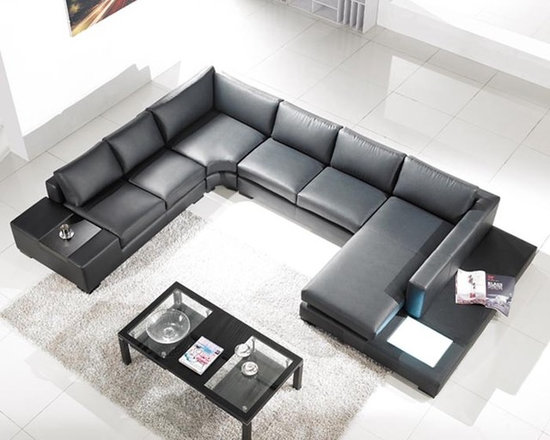 Tosh Lombardy Black Leather Sectional Sofa - - Upholstered in luxurious black top grain leather