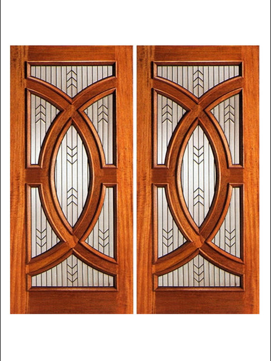 AAW Inc. - Contemporary Entry Door Model PL-01 - Model PL-01 from our Budget Doors. Door is solid Mahogany, Featuring a triple glazed beveled design.  This door can be purchased as one door, two doors, or doors with matching sidelites.
