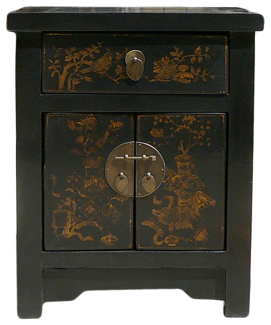 Chinese black golden graphic end table nightstand asian for Japanese bedside table