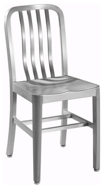Sandra Side Chair with Aluminum Seat Brushed Aluminum