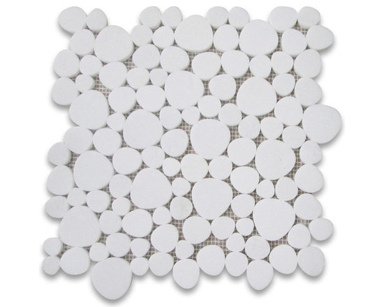 "Stone Center Corp - Thassos White Marble Heart Shaped Bubble Mosaic Tile Carrera - Thassos White Marble random heart-shaped pieces mounted on 12x12"" sturdy mesh tile sheet"