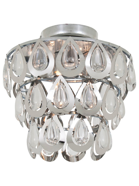 DVI Lighting - Bliss Ceiling Semi Flush Mount - Bliss Ceiling Semi Flush Mount features Crystals with a Chrome finish. Three 75 watt, 120 volt JCD type G9 base halogen bulbs are required, but not included.  11 inch width x 10 inch height.