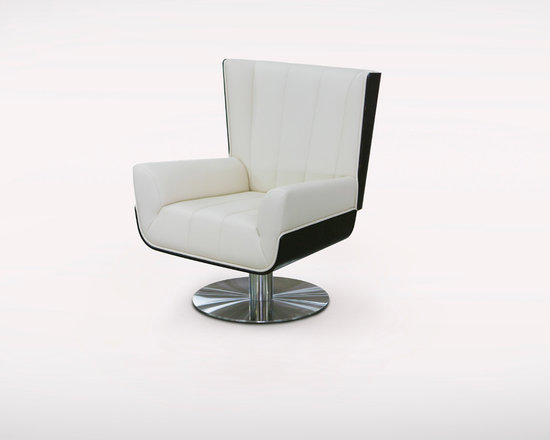 VERNA - The Verna swivel chair (SYF-9070) achieves clarity of style while incorporating a mix of both masculine and feminine sensibilities. The lines in this piece are drawn from consistency and strength while being functional and flexible. The internal metal structure with its curved oak wood back and under seat gives an updated midcentury sensibility. The elegant composition of