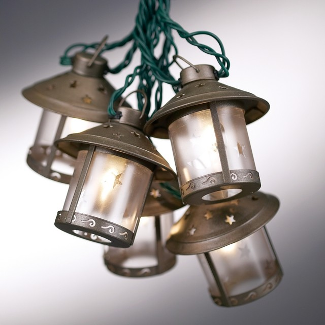 Old Fashioned Metal Moon Lantern Party String Lights - Contemporary - Outdoor Rope And String Lights