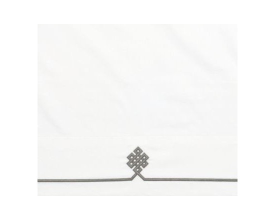 Serena & Lily - Pewter Gobi Embroidered Pillowcases - Our not-so-basic white sheets make a great foundation for layering color and pattern throughout the room think of them as classics with a twist. An ancient Buddhist motif, representing the endless knot of wisdom, is embroidered in Pewter on the flat sheet and cases.