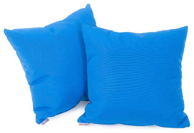 Modern Blue Outdoor Pillows : Canvas Capri Blue 17