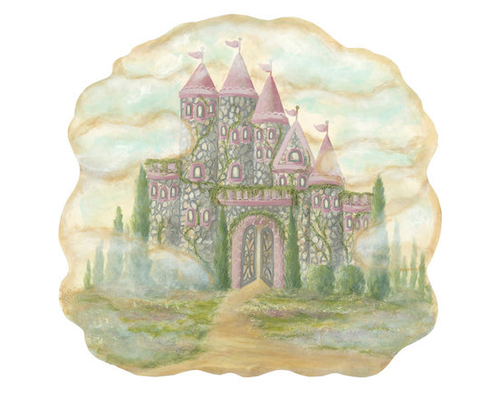 Peel and stick vintage baby, child decor - This castle in the clouds set comes with a little princess banner, held up by two sweet blue birds