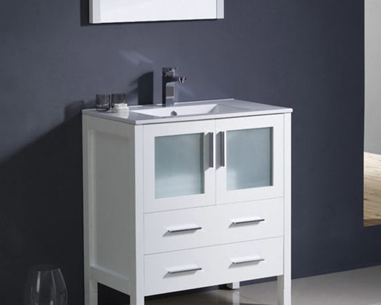Fresca - Fresca Torino 30 White Modern Bathroom Vanity w/ Integrated Sink - The Torino 30 vanity from Fresca provides a smart and practical storage solution for toiletries and bathroom linen. Featuring a White finish and frosted glass panels, this vanity is perfect for enhancing any modern or traditional bathroom. With a durable and solid construction, this vanity comes with the integrated ceramic sink, which provides a neat finish. Torino Bathroom Vanity Details:   Dimensions:30W x 18 1/8D x 33 3/4H Material: Plywood with Veneer, integrated ceramic sink Finish: White Please note: faucet not included