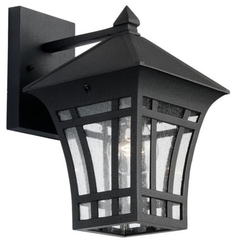 Herrington One-Light Black Outdoor Wall Lantern - traditional