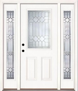 Feather River Doors Door. Mission Pointe Half Lite Prime Smooth Fiberglass Entry - Contemporary ...