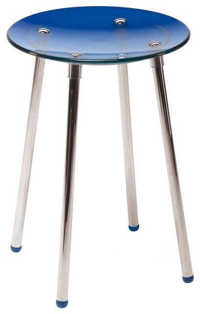 Noni 16 5 Quot Blue Transparent Coloured Stool Contemporary