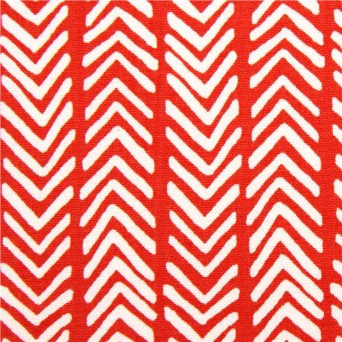 Red Herringbone Pattern Organic Fabric By Monaluna USA