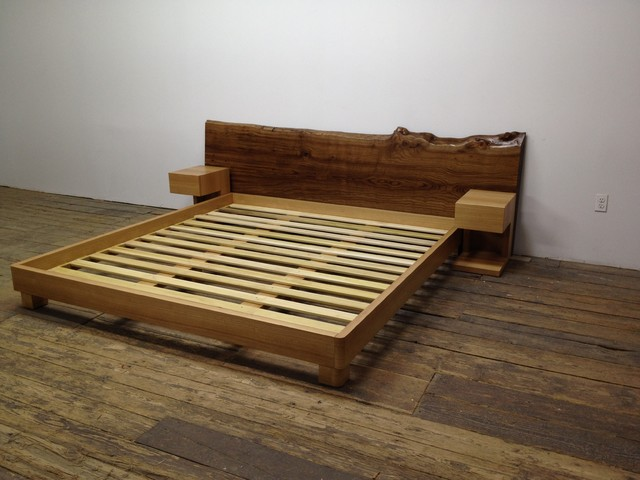 Custom Platform Bed with night stands and slab head board contemporary