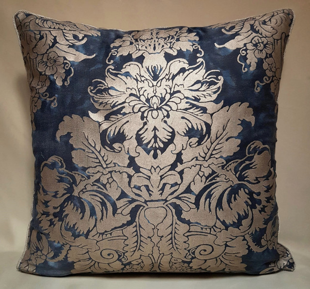 Pair of Fortuny Dandolo Midnight Blue & Silvery Gold Throw Pillow Covers - Decorative Pillows ...