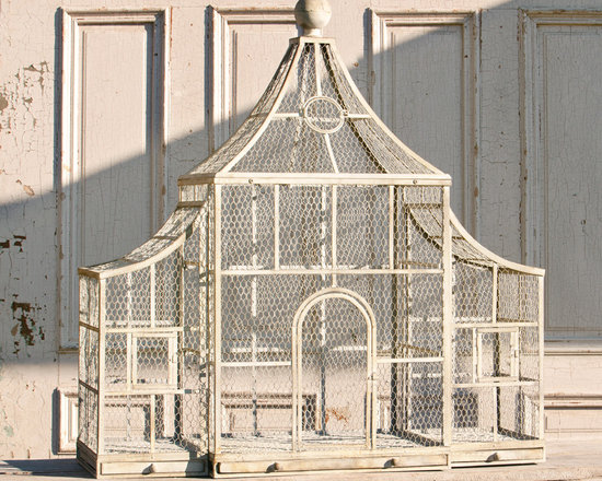 """Pavilion Aviary - Some birds have all the luck! One part Taj Mahal, one part circus big top, altogether a metal and wire marvel with ball finial top. Arched door, secondary """"windows"""" in the wings and removable trays for cleaning."""