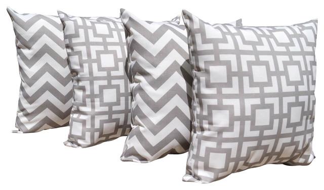 Grey Chevron Throw Pillow : Zig Zag Chevron Gray and Gigi Grey Outdoor Decorative Throw Pillow - 4 Pack, 16x - Contemporary ...