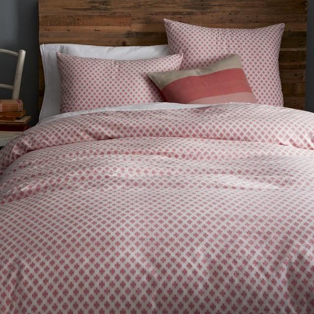 Jacquard Leaf Duvet Cover Lotus Pink Contemporary