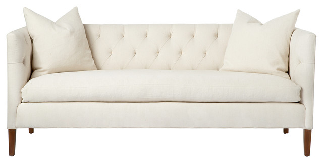 Nell Mid Century Ivory Tufted Feather Down Straight Sofa transitional-sofas